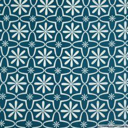 Coton imprimé retro graphique bleu