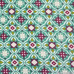 Coton imprimé azulejos vert et prune