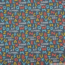 Coton imprimé alphabet fond gris