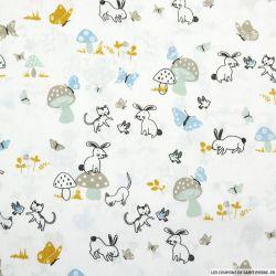 Coton imprimé forêt enchantée et champignon