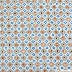 Coton imprimé azulejos gris et bleu fond blanc