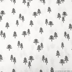 Coton imprimé forêt de sapins noir fond blanc