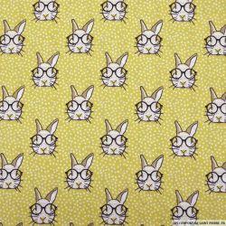 Coton imprimé lapin à lunettes fond vert anis