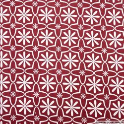 Coton imprimé retro graphique cerise