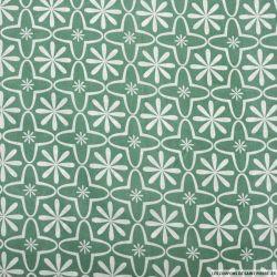 Coton imprimé retro graphique jade