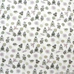Coton imprimé cage du paradis pois gris et violet