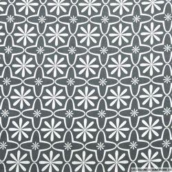 Coton imprimé retro graphique gris