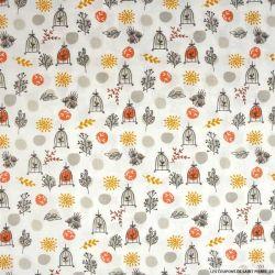 Coton imprimé cage du paradis pois orange et gris