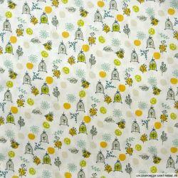 Coton imprimé cage du paradis pois vert et moutarde