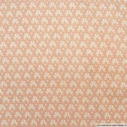 Coton imprimé éventail fond rose poudre