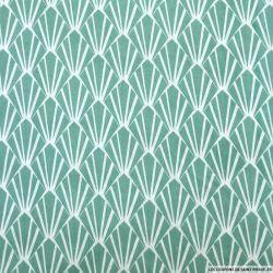 Coton imprimé écailles jade et blanc