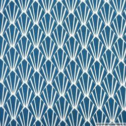 Coton imprimé écailles bleu et blanc