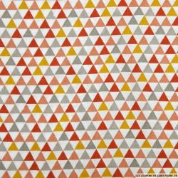 Coton imprimé triangle rouille et ocre