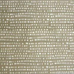 Coton imprimé carré graphique fond taupe