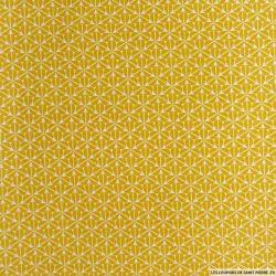 Coton imprimé trèfles fond moutarde
