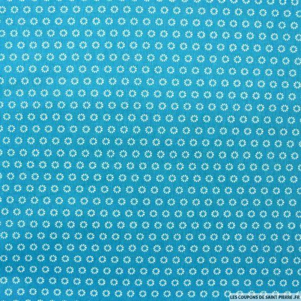 Coton imprimé marguerite blanche fond turquoise