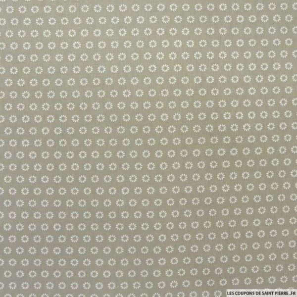 Coton imprimé marguerite blanche fond taupe