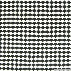 Coton imprimé vague fond noir et blanc