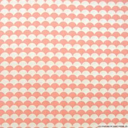 Coton imprimé vague fond rose et blanc