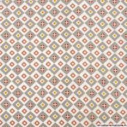 Coton imprimé azulejos gris et corail fond blanc