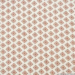 Coton imprimé motif indien marsala fond blanc