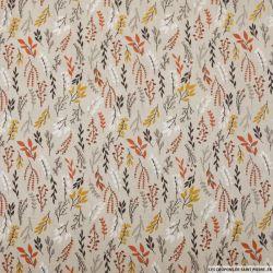 Coton imprimé rameaux feuillage rouille fond grège