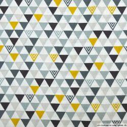 Coton imprimé triangle indien gris et ocre