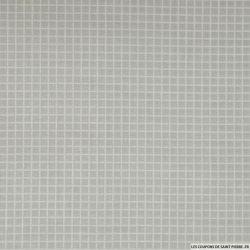 Coton imprimé quadrillage blanc fond gris perle