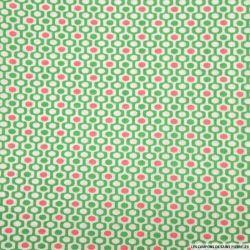 Coton imprimé frise 70's vert et rose