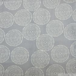 Coton imprimé rosace blanc fond gris acier