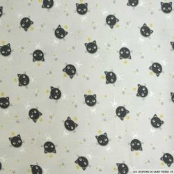 Coton imprimé chat fond gris