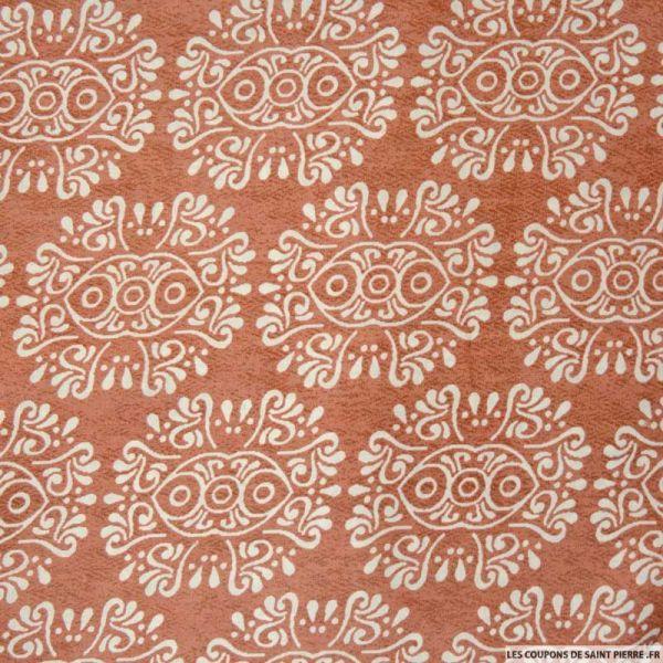 Coton imprimé bandana fond marron