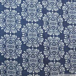 Coton imprimé bandana fond bleu