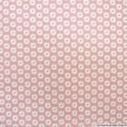 Coton imprimé cercle fond rose balais