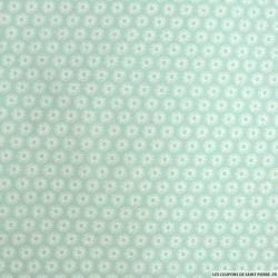 Coton imprimé cercle fond vert d'eau