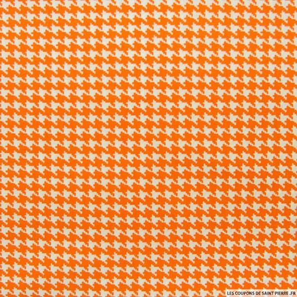 Coton imprimé pied de poule orange
