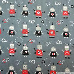 Coton imprimé robots fond gris