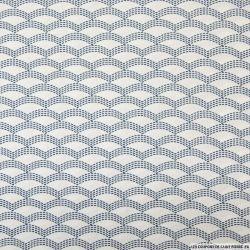 Coton imprimé vague japonaise marine fond blanc