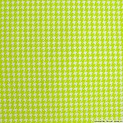 Coton imprimé pied de poule vert anis