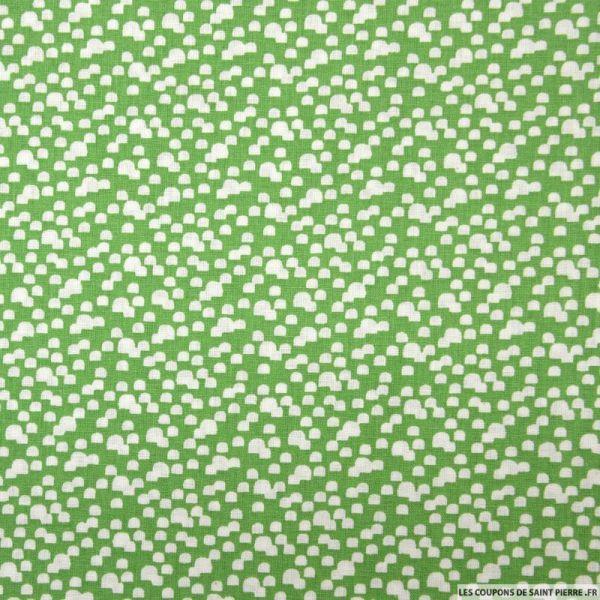 Coton imprimé mini lanterne blanc fond vert prairie