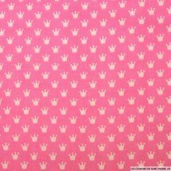Coton imprimé couronne fond rose