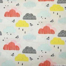 Coton imprimé nuage multicolore fond gris perle