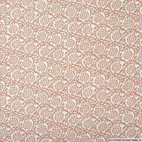 Coton imprimé arabesque indienne rose fond blanc