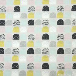 Coton imprimé dôme multicolore fond gris perle