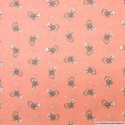 Coton imprimé oiseaux fond rose