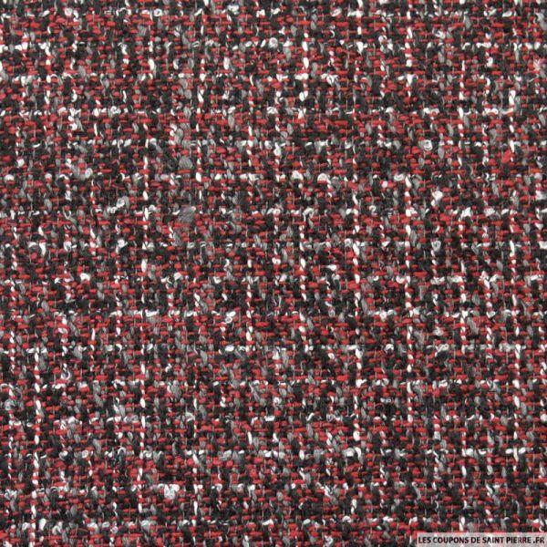 Tweed polycoton rouge et noir