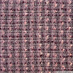 Tweed polycoton carreaux rose et prune