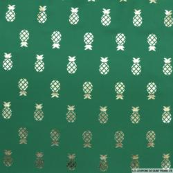 Microfibre imprimée ananas doré fond vert