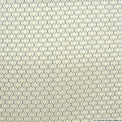 Microfibre imprimée losage marine et doré fond écru