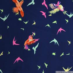 Microfibre imprimé oiseaux tropicaux fond marine